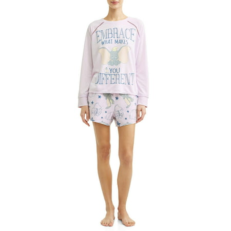 - Disney Women's and Women's Plus Dumbo T-shirt Pajama Pant Set
