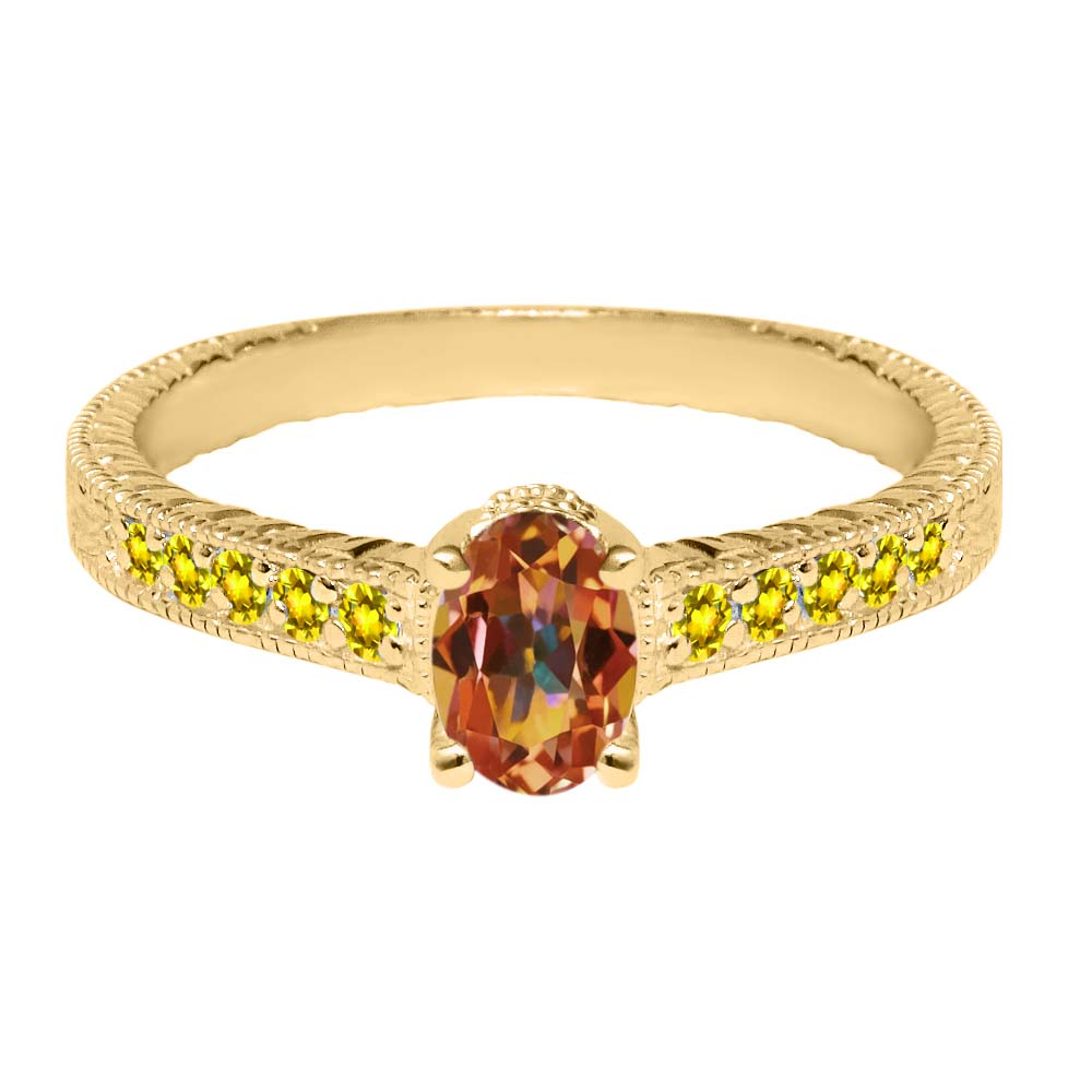 1.45 Ct Oval Ecstasy Mystic Topaz Yellow Created Sapphire 14K Yellow Gold Ring