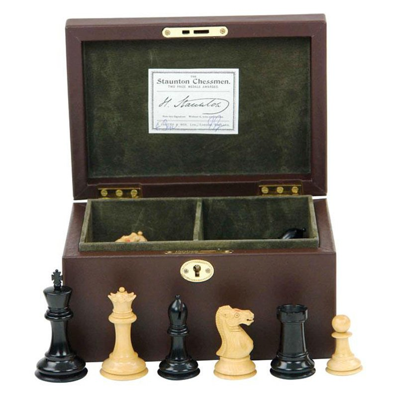 Jaques 3.5 in. Staunton Chessmen in Leather Box