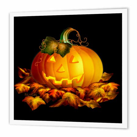 3dRose Glowing JackoLantern and Autumn leaves on Halloween night on black background, Iron On Heat Transfer, 10 by 10-inch, For White - Halloween Printables