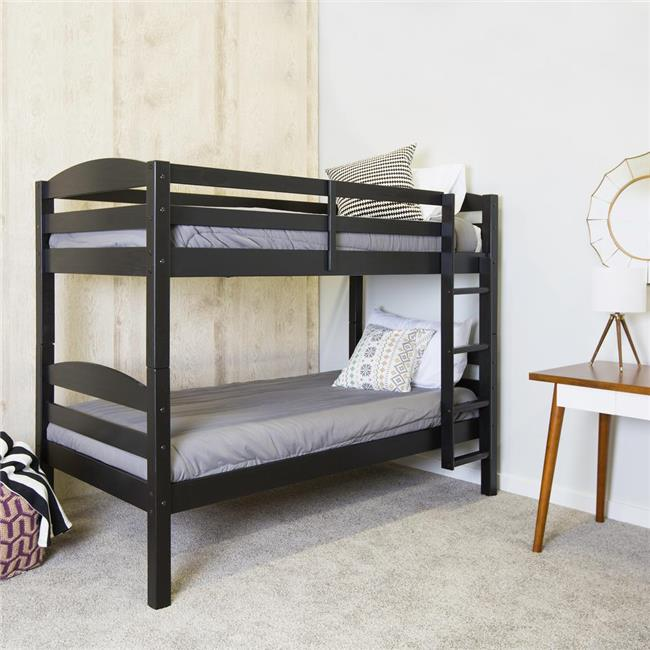 Solid Wood Twin Size Bunk Bed - Black