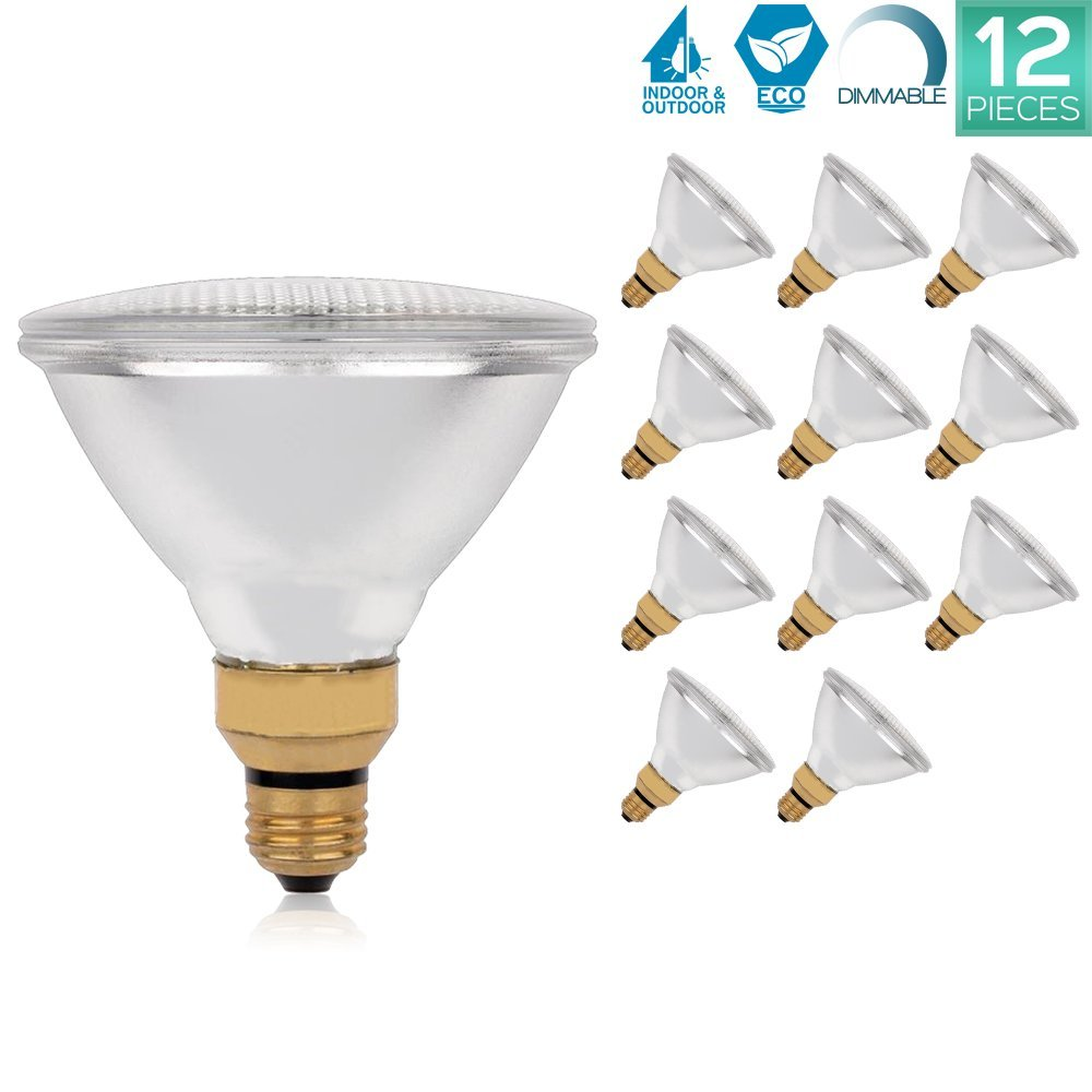 Luxrite LR20637 (12-Pack) PAR38 Eco Halogen Light Bulb, 70 Watt (90w replacement) Dimmable, 40 Flood Beam Spread, 2900K, 1310 Lumens E26 Base, For Indoor/outdoor use.