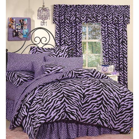 Black & Purple Zebra Bed in a Bag Set - Extra Long Twin