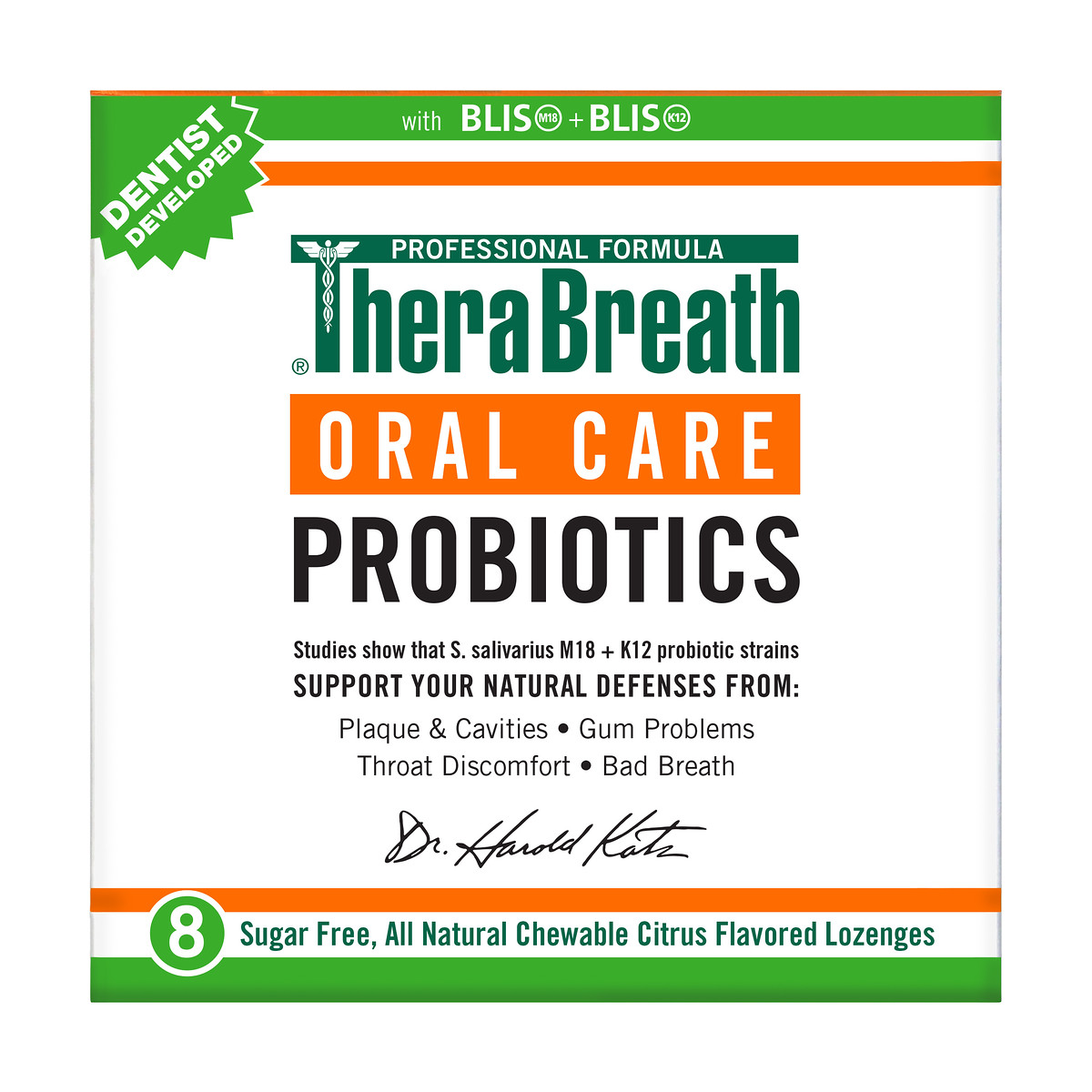 Thera Breath Oral Care Probiotics Chewable Citrus Flavored Lozenges, 8 count