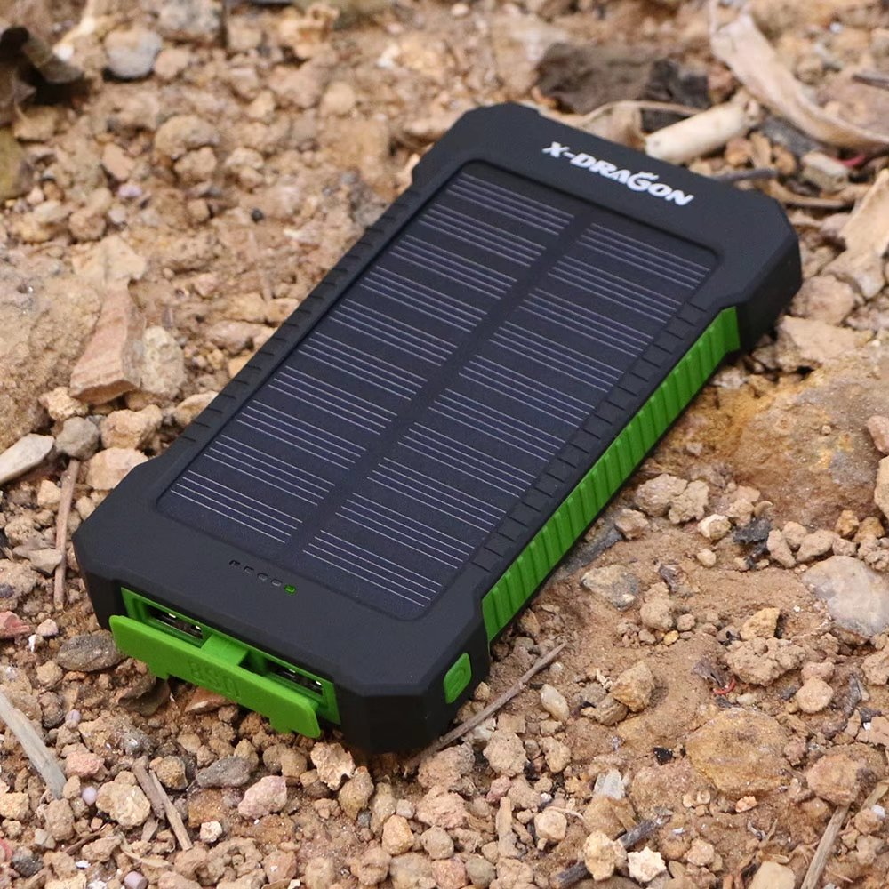 X-DRAGON 10000mAh Portable Solar Charger Power Bank for iPhone, iPad, Android Phones and Tablets, Gopro Camera and Other 5V USB devices-Green