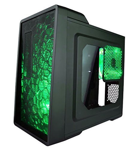 Pc Gaming Case, X-enerq 120mm Green Led Fans Dust Filter Desktop Pc Gaming Tower