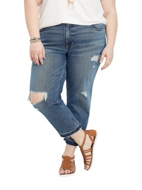 0e9006ccaee Product Image Plus Size DenimFlex TM Release Hem Boyfriend Cropped Jean