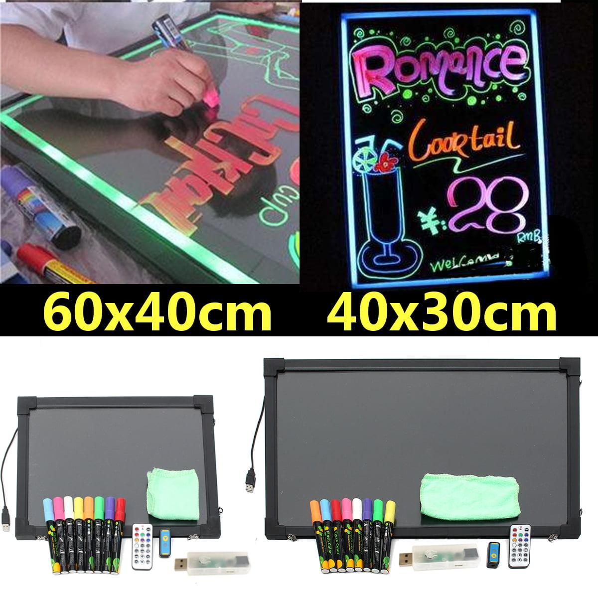 Aimeeli 40x30/40x60cm Flashing LED Message Writing Sign Board Illuminated Erasable Neon Menu Set