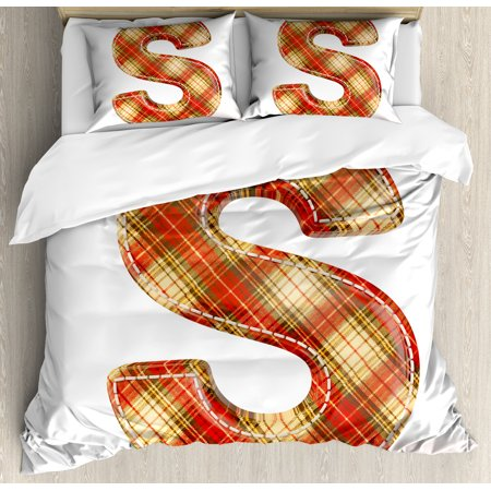 Letter Writing Set - Letter S Queen Size Duvet Cover Set, S Symbol Character Writing Systems Typography Checkered Image, Decorative 3 Piece Bedding Set with 2 Pillow Shams, Vermilion Pale Yellow Brown, by Ambesonne