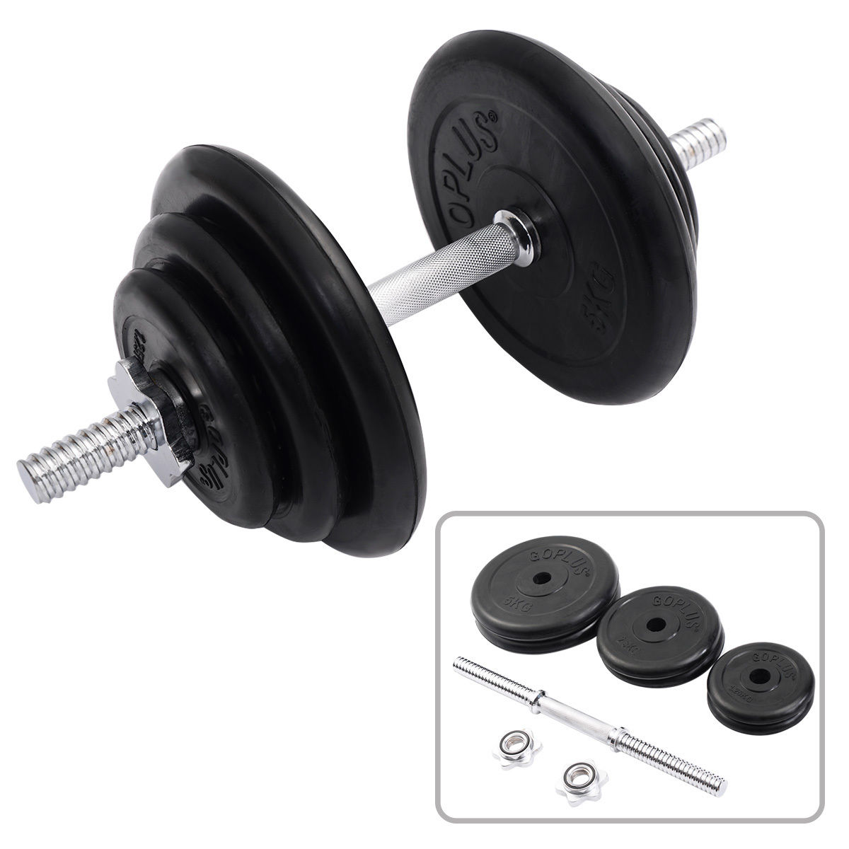 Costway Weight Dumbbell Set 44 Lb Adjustable Cap Gym Barbell Plates Body Workout
