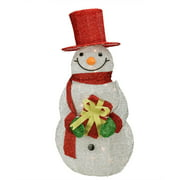 """32"""" Lighted SIlver Tinsel Snowman with Gift Christmas Yard Art Decoration"""