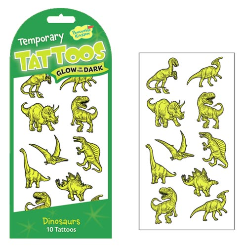 Glow-in-the-Dark Dinosaurs Tattoos by Peacable Kingdom