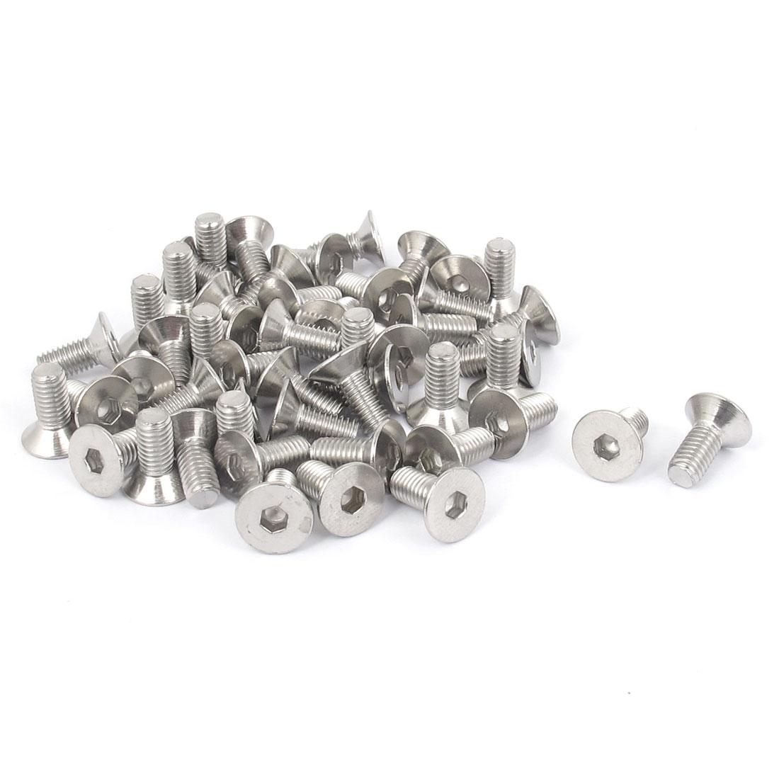 Unique Bargains M5 x 12mm 304 Stainless Steel Hex Socket Countersunk Flat Head Screw Bolts 50pcs