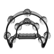 Half Moon Musical Tambourine (Black) Double Row Metal Jingles Hand Held Percussion Drum for Gift KTV Party Kids Toy with Ergonomic Handle Grip