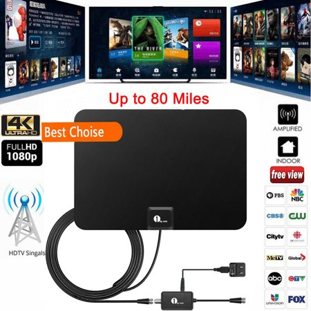 Updated 2019 1byone TV Antenna 80 Miles  Long Range Amplified HDTV Antenna with Signal Booster and10ft Cable for the Highest Performance -