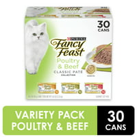 (30 Pack) Fancy Feast Grain Free Pate Wet Cat Food Variety Pack, Poultry & Beef Collection, 3 oz. Cans