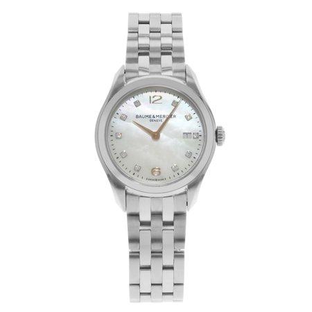 Baume et Mercier Clifton MOP Diamond Dial Steel Quartz Ladies Watch MOA10176