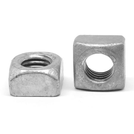 "3/8""-16 Coarse Thread Grade 2 Regular Square Nut Low Carbon Steel Hot Dip Galvanized Pk 1500"