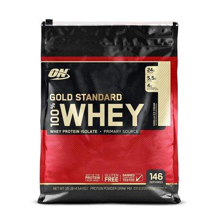 Optimum Nutrition Gold Standard 100% Whey Protein Powder, Vanilla Ice Cream, 24g Protein, 10 Lb