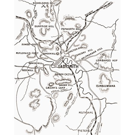 Map Of Ladysmith And Surrounding Heights Circa 1900 From The Book South Africa And The Transvaal War By Louis Creswicke Published 1900 PosterPrint (Circa Map)