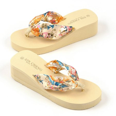 New Women Flip Flops Bohemia Floral Beach Sandals Platform Thongs Slippers