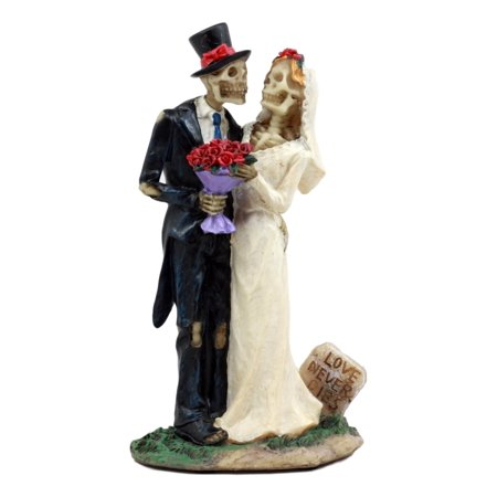 Ebros Gift Day Of The Dead DOD Skeleton Bride & Groom With Rose Flower Bouquet Figurine Love Never Dies Wedding Ceremony Skeleton Lovers Statue