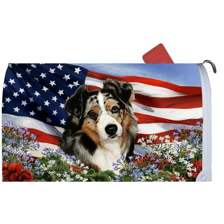 Australian Shepherd Blue Merle - Best of Breed Patriotic I Dog Breed Mail Box