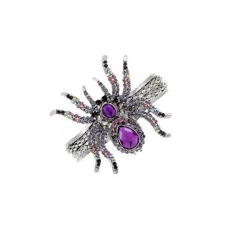 Vintage ish Creepy Halloween Purple Crystal Rhinestone Spider Bracelet Bangle Cu - Spider Bracelet Halloween Craft