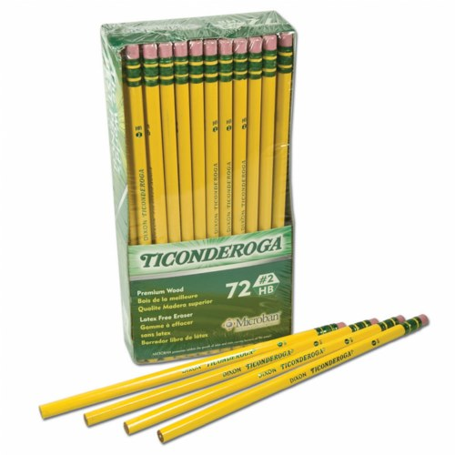 Dixon Ticonderoga Company Ticonderoga Pencil w/ Eraser, No 2 Med, Yellow, 72-Pack