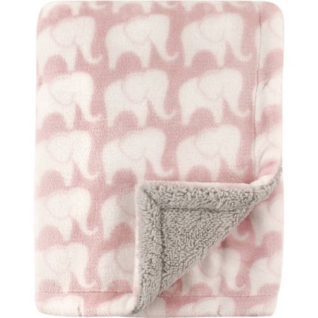 Hudson Baby Plush Blanket with Sherpa Backing - Pink Elephant