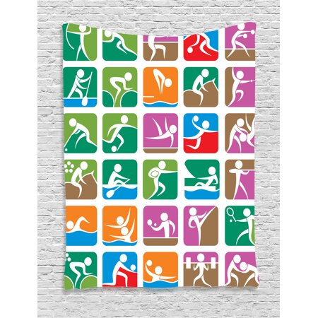 Olympics Decorations Tapestry, Pictograms of the Summer Sports Sailing Wrestling Boxing Art Image, Wall Hanging for Bedroom Living Room Dorm Decor, 40W X 60L Inches, Green Purple, by Ambesonne](Olympic Rings Decorations)