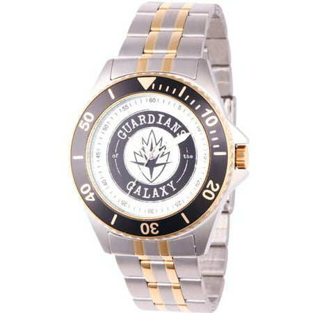 Black Bezel Watch - Marvel Guardians of the Galaxy Men's Honor Two Tone Stainless Steel Watch, Black Bezel, Two Tone Stainless Steel Bracelet