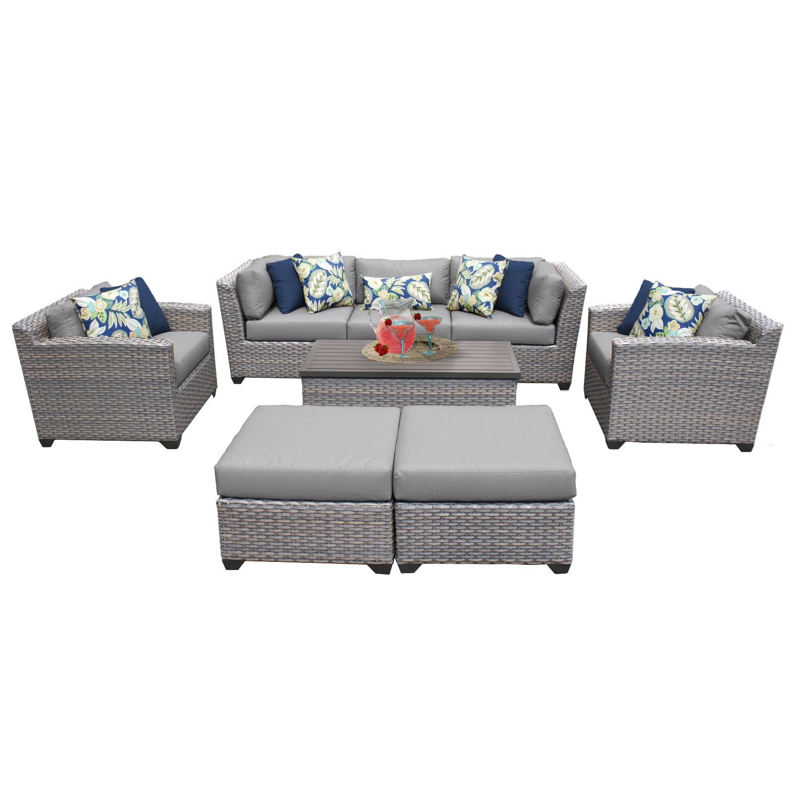 Catalina 8 Piece Outdoor Wicker Patio Furniture Set 08c by TK Classics
