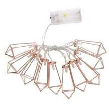 10 LED Rose Gold Geometric Diamond & Unicorn LED Battery Holiday Decorative String Lights for Indoor Outdoor Holiday Parties Christmas Decor,Warm White (Diamond) ()