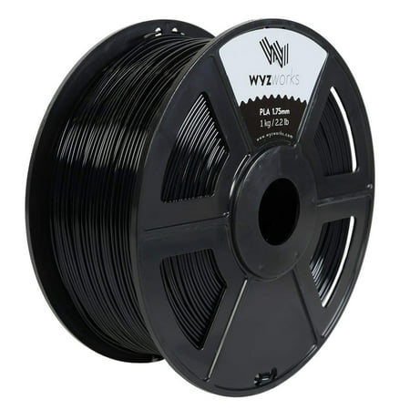 WYZworks PLA 1.75mm [ BLACK ] Premium Thermoplastic Polylactic Acid 3D Printer Filament - Dimensional Accuracy +/- 0.05mm 1kg/2.2lb + [ Multiple Color Options Available