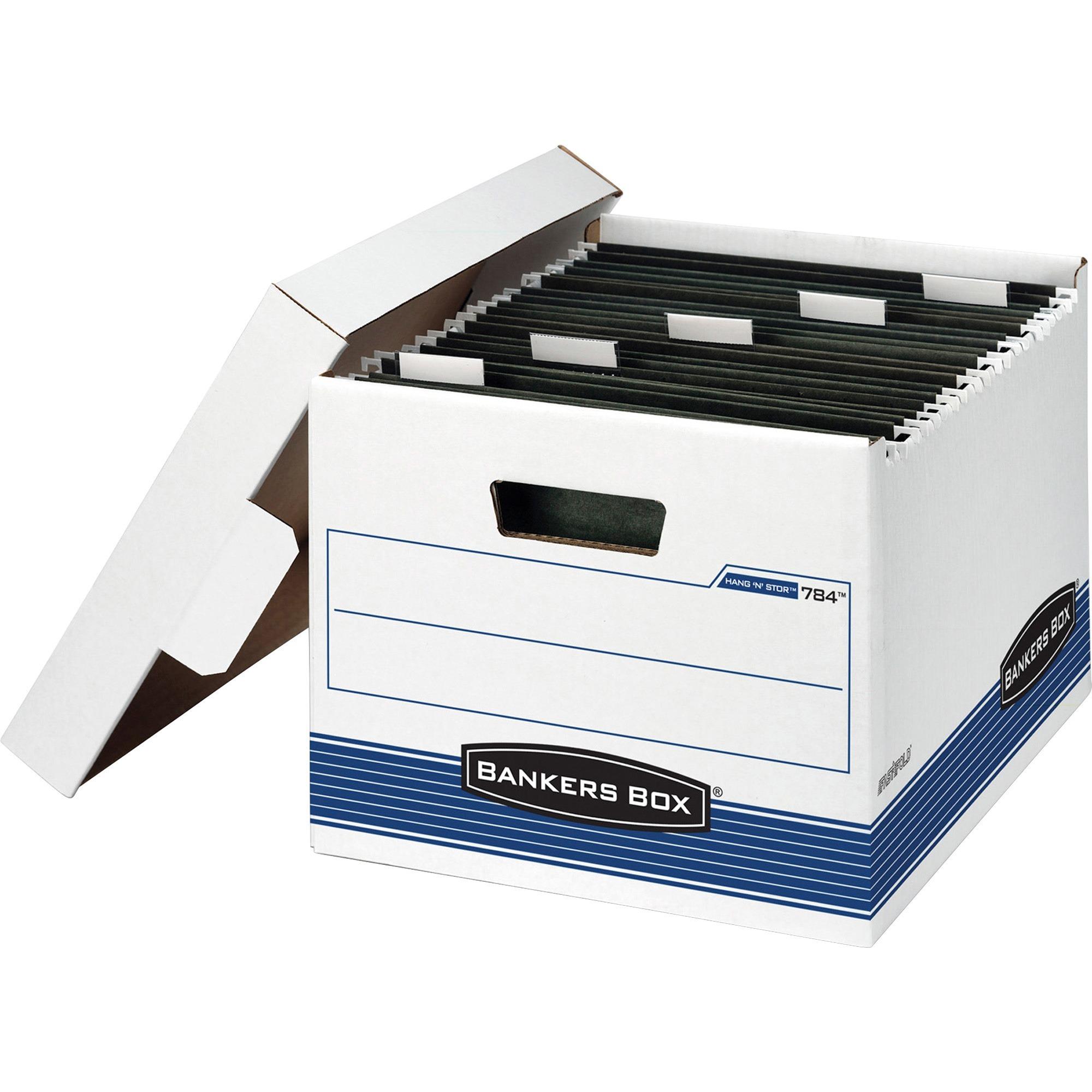 Bankers Box, FEL00784, Hang 'N' Stor Storage Boxes, 4 / Carton, Kraft,Green