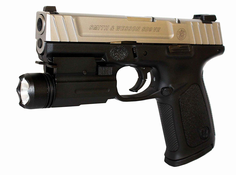 Black Tactical Ultra-Compact LED Handgun Weapon Pistol Light Mini  Flashlight 180L
