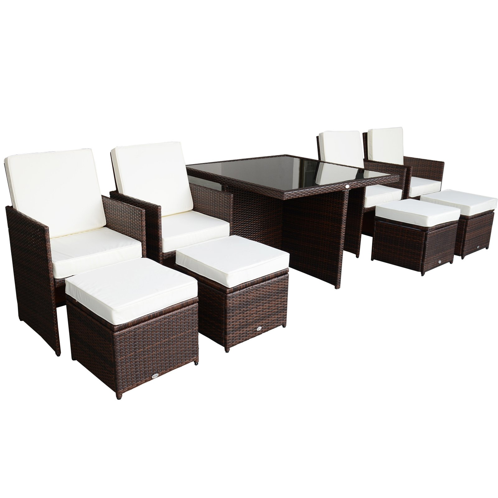 Outsunny 9 Piece PE Rattan Wicker Outdoor Nesting Patio Dining Table Set    Walmart.com