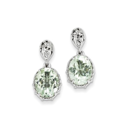 Sterling Silver Green Amethyst Earrings. Gem Wt- 4.36ct (0.8IN x 0.3IN )