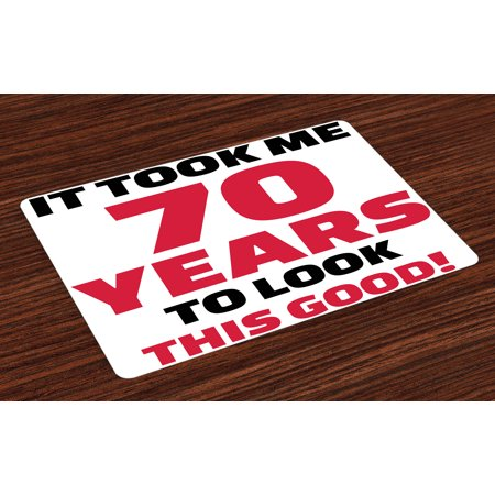 70th Birthday Placemats Set of 4 Party Theme with Motivational Quote for Seventy Years Old, Washable Fabric Place Mats for Dining Room Kitchen Table Decor,Dark Coral Black and White, by - Themes For 4 Year Old Birthday Party