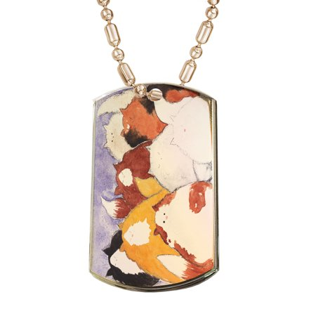 KuzmarK Gold Pendant Dog Tag Necklace - Eight Colorful Maine Coon Kitties Abstract Cat Art by Denise Every Gold Dog Tag