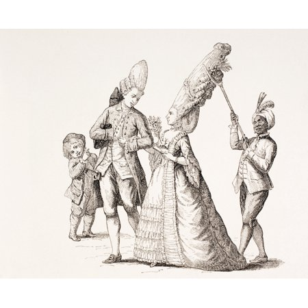 A Satire On Womens Extreme Hairdos In 18Th Century Paris A Servant Walks Behind Holding The Hair In Place With A Forked Stick From Xviii Siecle Institutions Usages Et Costumes - Extreme Costumes