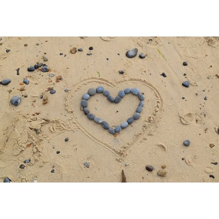Canvas Print Shape Sand Pebble Heart Love Stones Beach Stretched Canvas 10 x 14