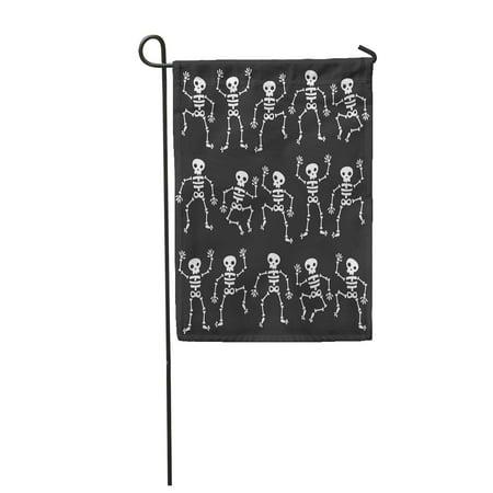 LADDKE Cartoon of Dancing Skeletons Black Halloween Skull Garden Flag Decorative Flag House Banner 12x18 inch - Old Halloween Cartoon Dancing Skeletons