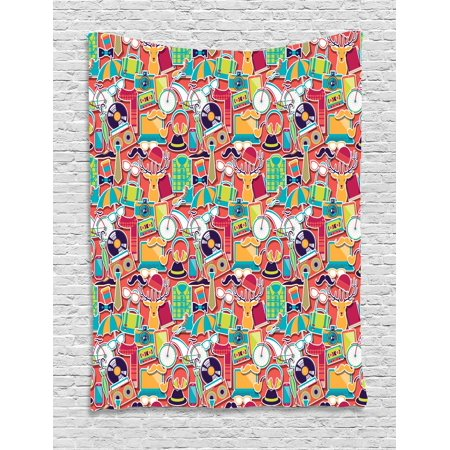 Indie Tapestry  Colorful Hipster Design Elements Old Fashioned Culture Technology Urban Theme Funky  Wall Hanging For Bedroom Living Room Dorm Decor  60W X 80L Inches  Multicolor  By Ambesonne