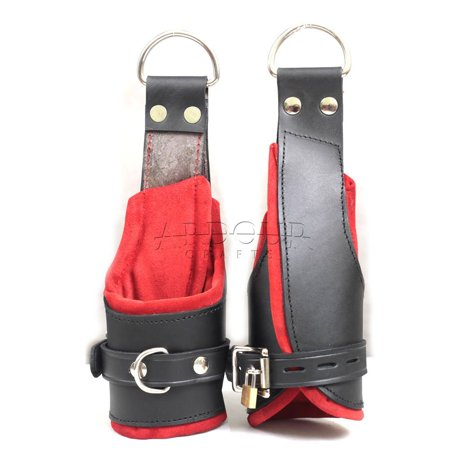 100% Genuine Heavy Leather Padded Wrist Suspension Cuffs Restraint Lockable Revised Design (Wrist Restraint)