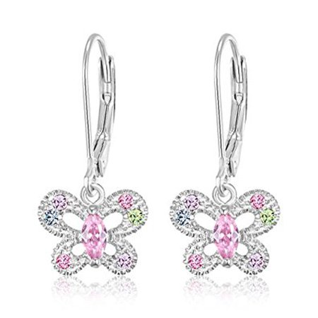 Children's Earrings - 925 Sterling Silver with a White Gold Tone Crystal Butterfly Leverback Earrings Kids, Children, Girls, Baby](Jewelry For Kids)
