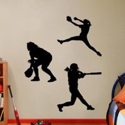 Sweetums Softball Players Girls Small Wall Decal Set