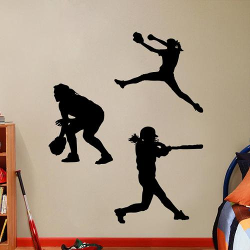 Sweetums Softball Players Girls Small Wall Decal Set