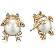 "Betsey Johnson ""Pearl Critters"" Frog Stud Earrings"